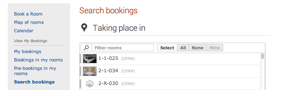 Search Bookings